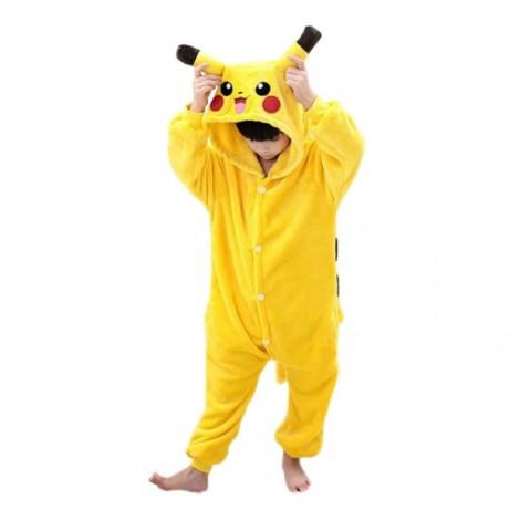 Cute Cartoon Style Laughing Pikachu Pattern Kids' Flannel Sleepwear Jumpsuits (95-105cm) Yellow