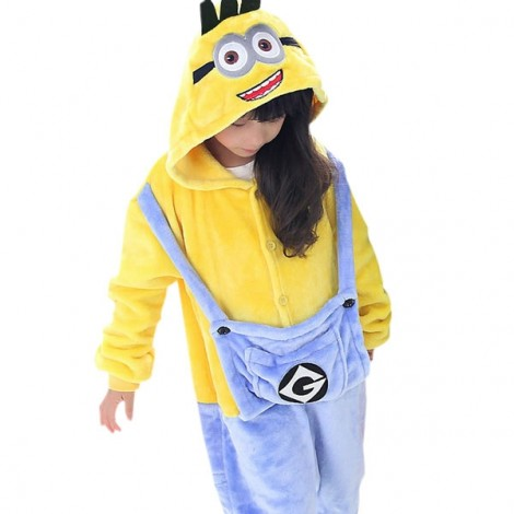 Cute Cartoon Style Minions Pattern Kids' Flannel Sleepwear Jumpsuits (125-135cm) Yellow