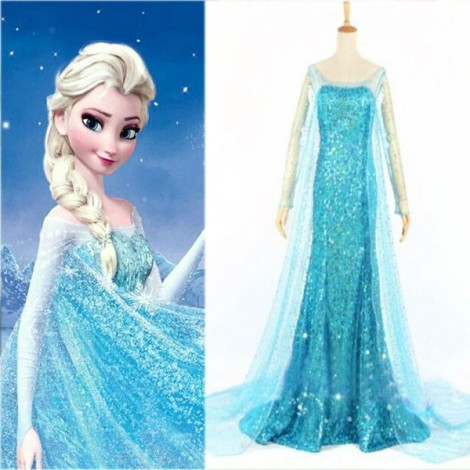 Frozen Princess Dress Style Zipper Closure Women's Sequin Dress Sky Blue XXL