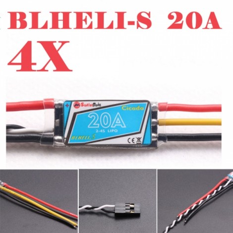 4pcs Sunrise Cicada BLHELI-S Upgrade BLHeli 20A 2-4S Programming Multishot ESC for RC Quadcopter