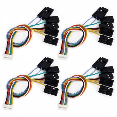 4pcs 6 in 1 CC3D Flight Controller 8 Pin Connection Cable Set Receiver Port