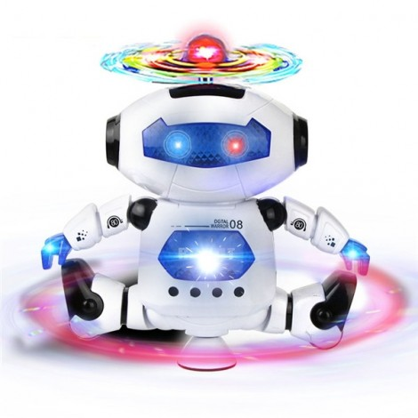 Smart Space Dance Robot Astronaut Toy Electronic Walking Toys with Music Light for Kids White & Blue