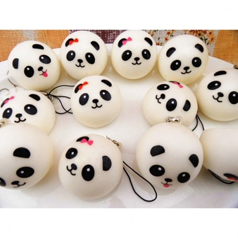 10cm Kawaii Jumbo Panda Squishy Buns Cell Phone Bag Strap Pendant Key Chain Black(Pattern Random)