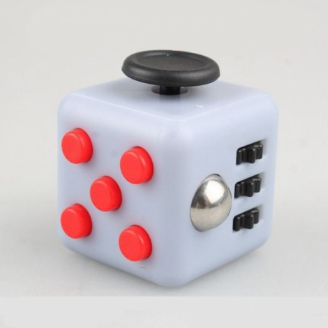 Fidget Magic Spin Cube Stress and Anxiety Reliever Red & Gray