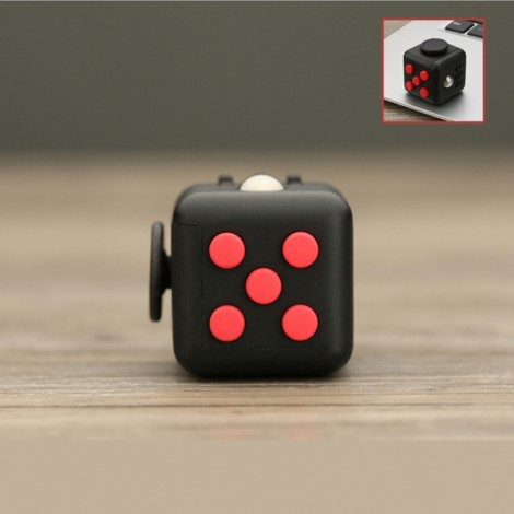 Fidget Magic Spin Cube Stress and Anxiety Reliever Black & Red