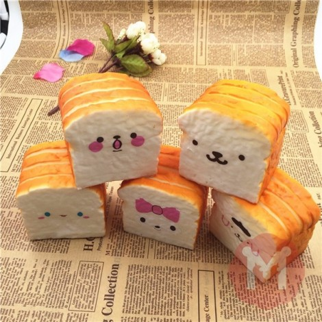 10CM Squishy Emulational Toast Bread Random Cute Kawaii Emoji Toy Phone Bag Strap Pendant Orange & Light Yellow