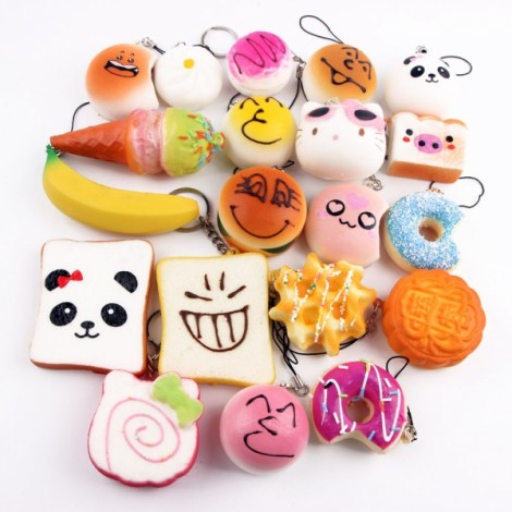 15pcs Mini Cartoon Style Squishy Soft Panda Bread Cake Buns Phone Strap Pendants Random Delivery