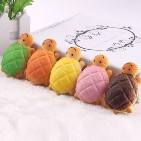 7CM Soft Kawaii Cute Emulational little Turtle Phone Bread Bun Squishy Charms Random Color