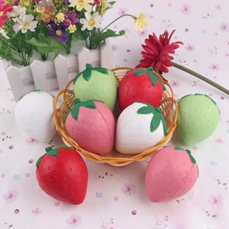 Soft Kawaii Phone Keychain Bags Straps Slow Rising Cute Squishy Strawberry Random Color