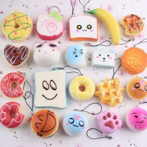 10Pcs Rilakkuma Panda Cupcakes Toasts Buns Donuts Squishy Soft Cell Phone Straps Random Color
