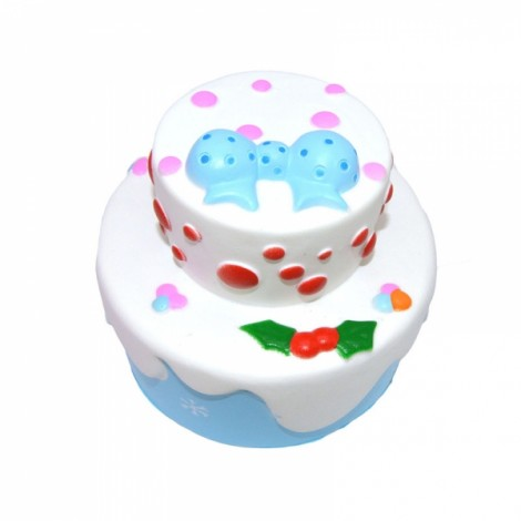 Kiibru Squishy Bowknot Snow Christmas Cake 11cm Slow Rising Original Packaging Collection Gift Toy - Blue