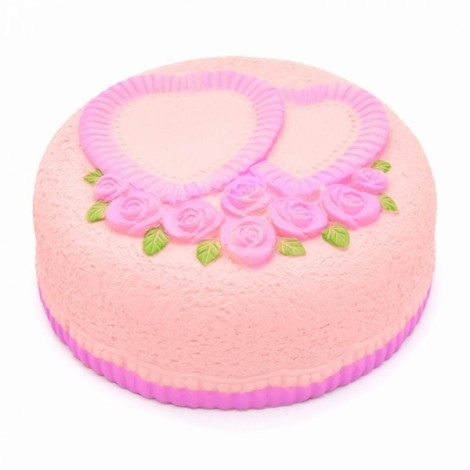 Areedy Squishy Love Cake Jumbo Rose Heart Cake Slow Rising Original Packaging Collection Gift Decor-Pink