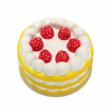Squishy Super Slow Rising Strawberry Cake Squeeze Toy Yellow