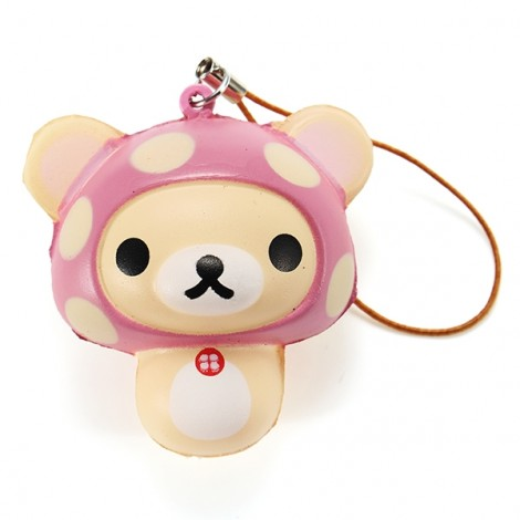 5cm Soft Squishy Mini Cute Bear Hang Decorations Slow Rising Pendant For Mobile Phone - Pink