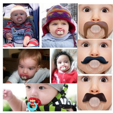 BPA Free Silicone Funny Nipple Dummy Baby Toddler Soother Joke Prank Orthodontic Pacifier Magnate Mustache