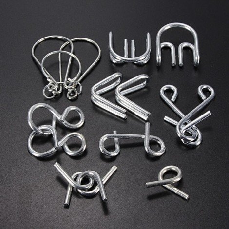 7 Sets Intelligence Toy Mind Game Brain Teaser Metal Wire Puzzles Silver