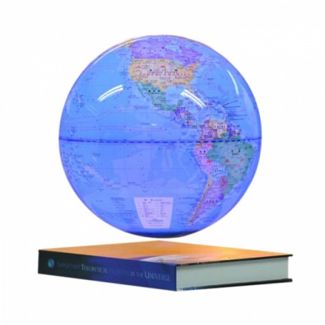 Luminous Magnetic Levitation Floating Rotating 6 inch Globe World Map with Book Base House Decor Gift Educational Toy Light Blue