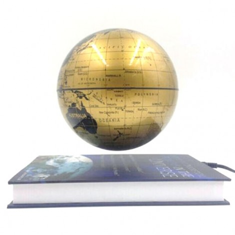 Magnetic Levitation Floating Rotating 6 inch Globe World Map with Book Base House Decor Gift Educational Toy Golden