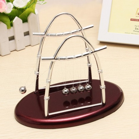 Arc-shaped Newton's Cradle Balance Ball Science Puzzle Fun Desk Toy Small Size Claret-red & Silver