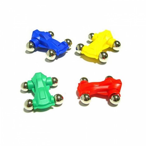 4pcs Magnetic Cars Children Educational Toy Assembly Part Random Color