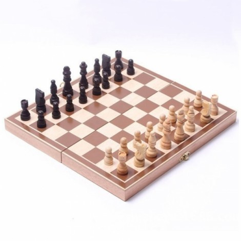 3-in-1 Foldable Wooden International Chess Set Wood Color & Beige & Black