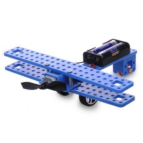 Small DIY Aircraft Model NO. 41 Common Wheel Propeller Fighter Assembly Toys Kit Black & Blue