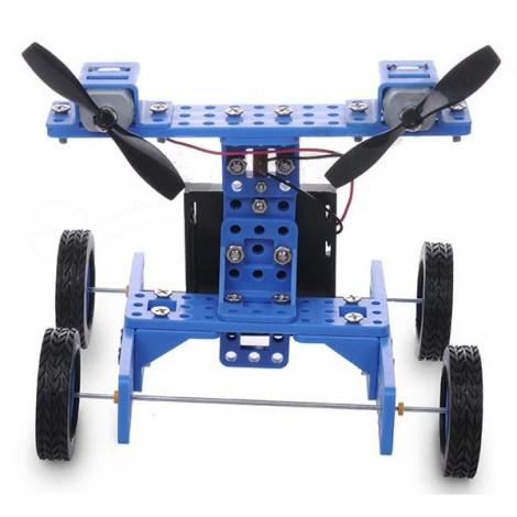 DIY Rubber Wheel Trolley Wind NO.34 Model Kit for Arduino DIY Handmade Assembling Blue & Black
