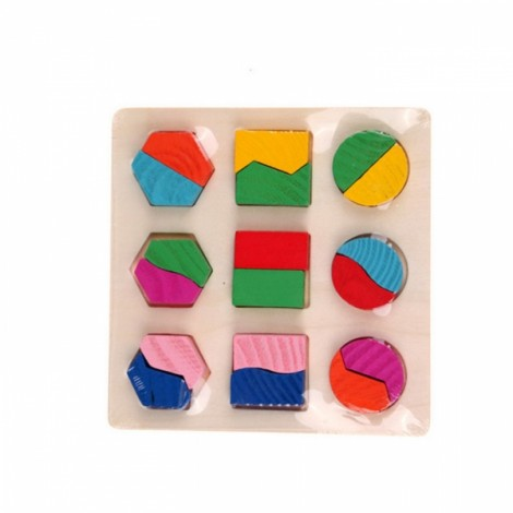 Montessori Kids Wooden Geometry Educational Puzzle Toy Shape Decomposition Plate
