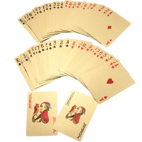 24K Carat Gold Foil Plated Poker Game Playing Cards 500 Euro Golden
