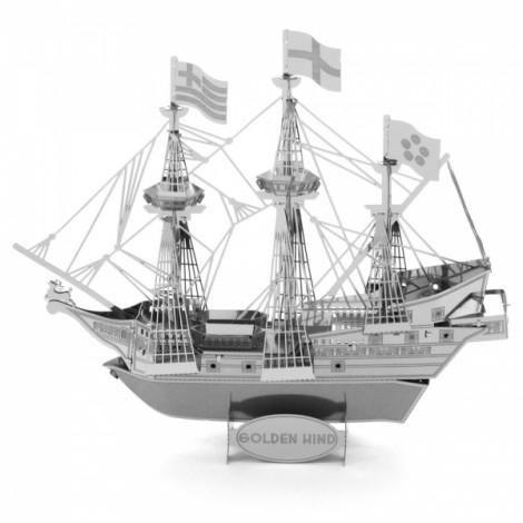 Deer Ship Model No-glue Metallic Steel Nano 3D Puzzle DIY Jigsaw Silver