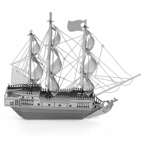 Fantastic Black-pearl Corsair Model No-glue Metallic Steel Nano 3D Puzzle DIY Jigsaw Silver