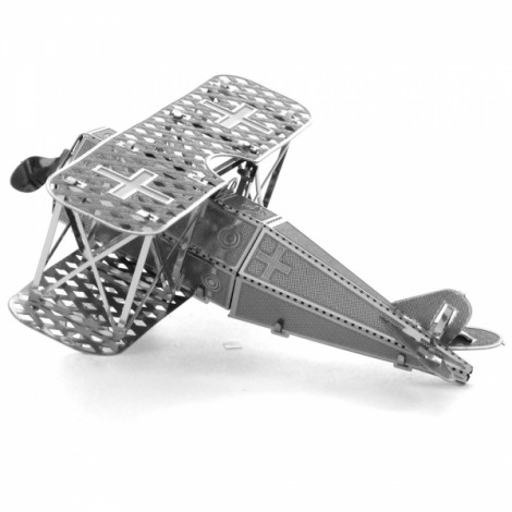 Fokker Biplane Fighter Model No-glue Metallic Steel Nano 3D Puzzle DIY Jigsaw Silver