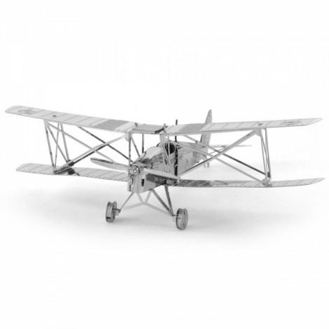 Cool Dual-wing Airplane Model No-glue Metallic Steel Nano 3D Puzzle DIY Jigsaw Silver