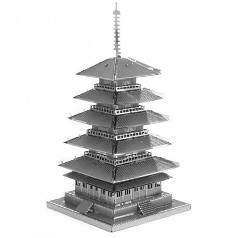 Five-storied Pagoda Model No-glue Metallic Steel Nano 3D Puzzle DIY Jigsaw Silver