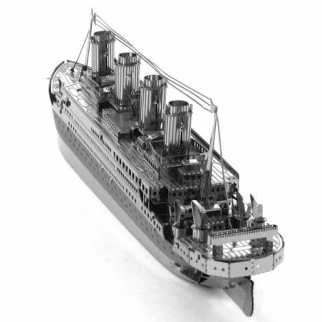 Titanic Model No-glue Metallic Steel Nano 3D Puzzle DIY Jigsaw Silver