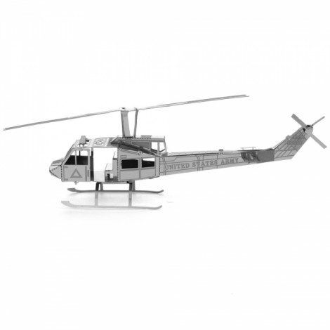 Huey Helicopter Model No-glue Metallic Steel Nano 3D Puzzle DIY Jigsaw Silver