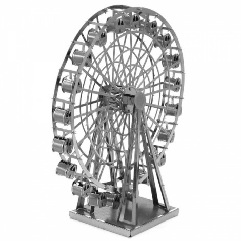 Ferris Wheel Model No-glue Metallic Steel Nano 3D Puzzle DIY Jigsaw Silver