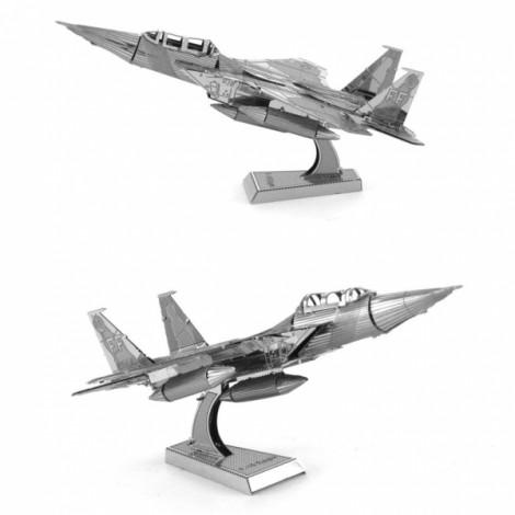 Metallic Steel Nano 3D Puzzle DIY Jigsaw No Glue F15 Fighter Silver