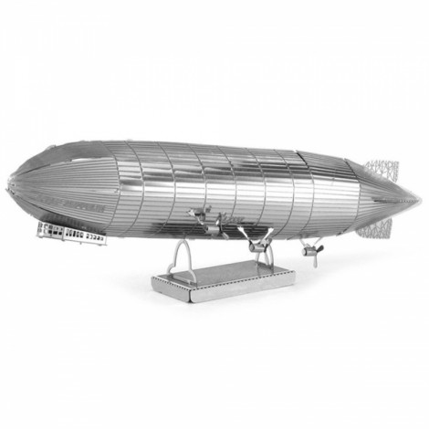 Fantastic Zeppelin Model No-glue Metallic Steel Nano 3D Puzzle DIY Jigsaw Silver