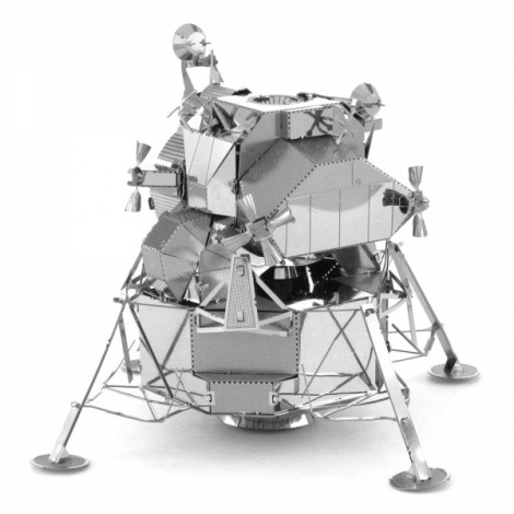 Metal Stainless Steel DIY Assembly Model 3D Nano Three-dimensional Puzzle Lunar Module Silver