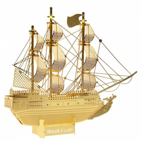 Metal Brass DIY Assembly Model 3D Nano Caribbean Pirate Ship Black Pearl