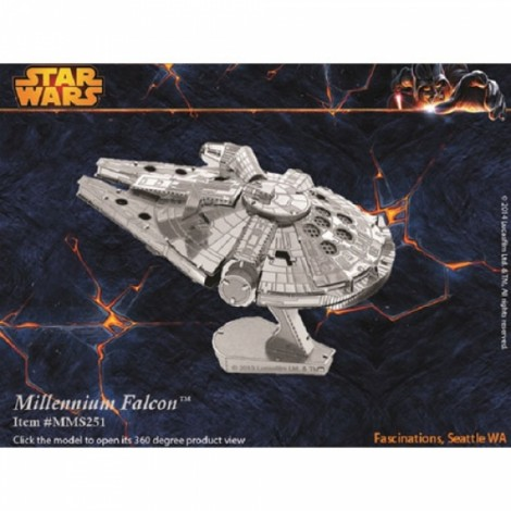 Metal Stainless Steel DIY Assembly Model 3D Nano Star Wars Millennium Falcon Silver