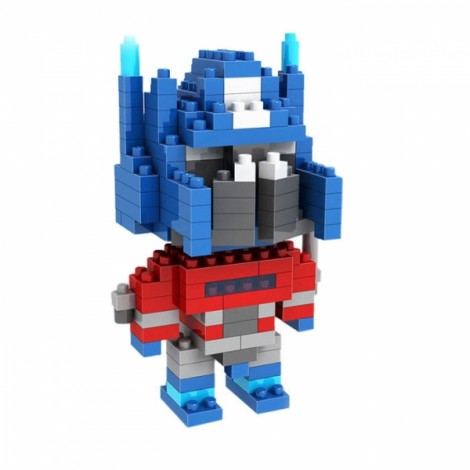 LOZ 170pcs M-9335 Mini Transformer Optimus Prime Figure Building Block Educational Toy White & Gray & Red & Blue