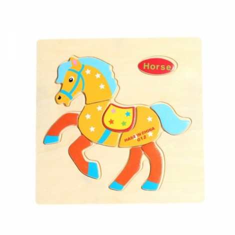 Horse Shaped Wooden Puzzle Block Cartoon Educational Toy Multicolor