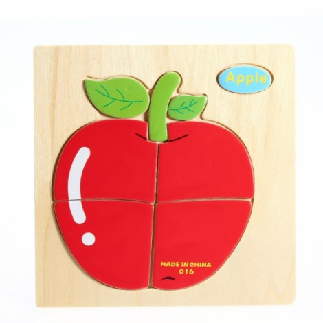 Apple Shaped Wooden Puzzle Block Cartoon Educational Toy Multicolor