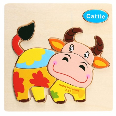 Cattle Shaped Wooden Puzzle Block Cartoon Educational Toy Multicolor