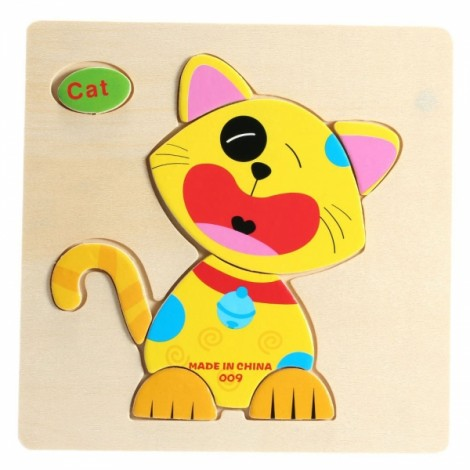 Cat Shaped Wooden Puzzle Block Cartoon Educational Toy Multicolor
