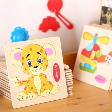 Leopard Shaped Wooden Puzzle Block Cartoon Educational Toy Multicolor