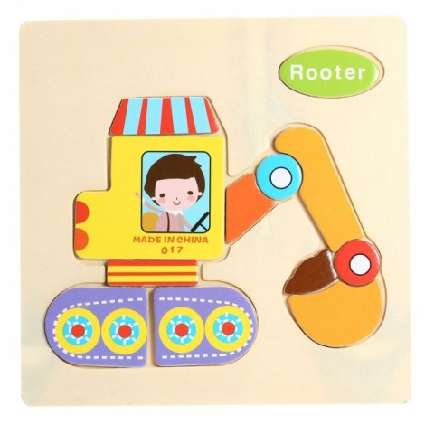 Rooter Shaped Wooden Puzzle Block Cartoon Educational Toy Multicolor