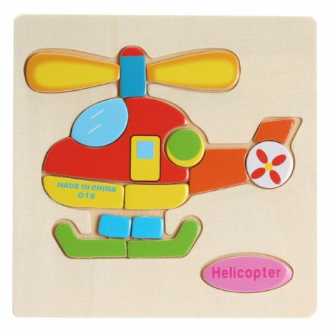 Helicopter Shaped Wooden Puzzle Block Cartoon Educational Toy Multicolor